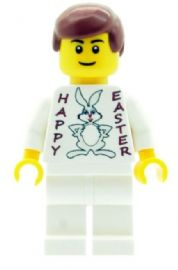 Boy with Happy Easter (Easter Bunny) T-shirt - Custom Designed Minifigure